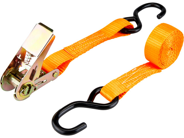 CAMPZ Ratchet Belt with Double S-Hook 2,5cm x 3m, orange